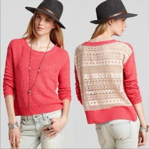 Free People Sweet Jane Lace Back Pullover Sweater
